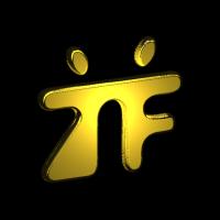 Ein goldenes TF in Form eines Tanzpaares auf blauem Hintergrund.