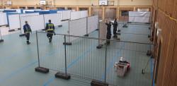 Aufbau in der Schwarzwaldhalle für Kreisimpfzentrum