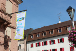 Fahne Fairtrade-Stadt am Rathaus 1