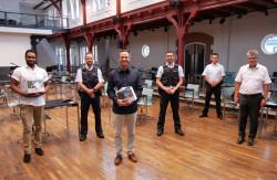 Williams Idiaghomon, Martin Oehler, Rene Witte, Lamar Kist, Matthias Bruder und Hubert Schnurr