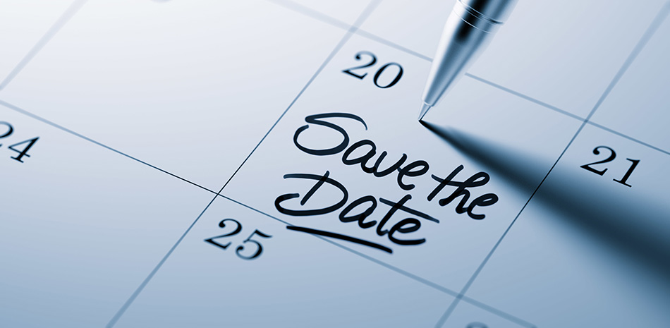Kalender mit save the date Hinweis