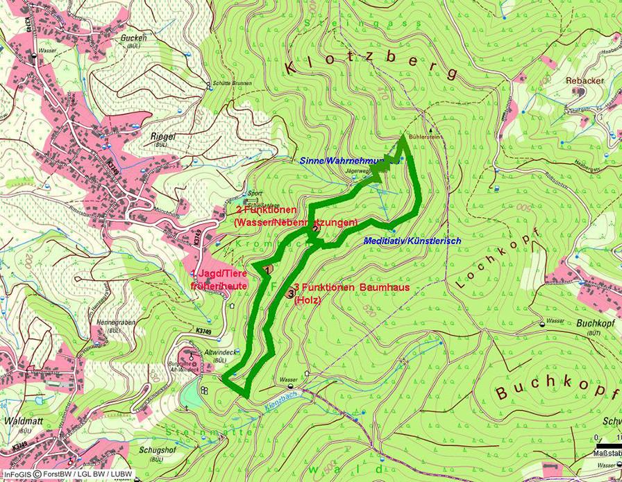 Kartenansicht mit Walderlebnispfad Burg Windeck
