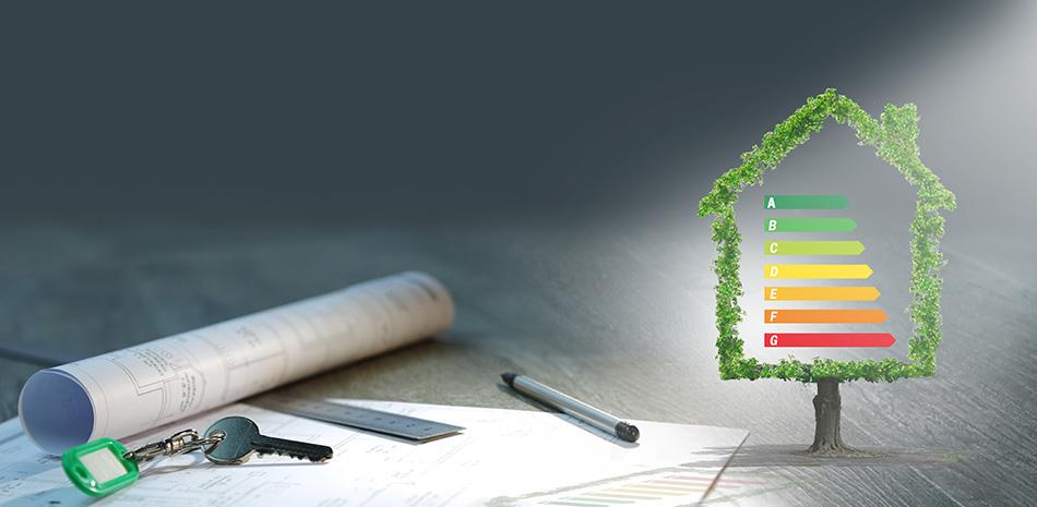 Haus mit Energieeffizienztabelle