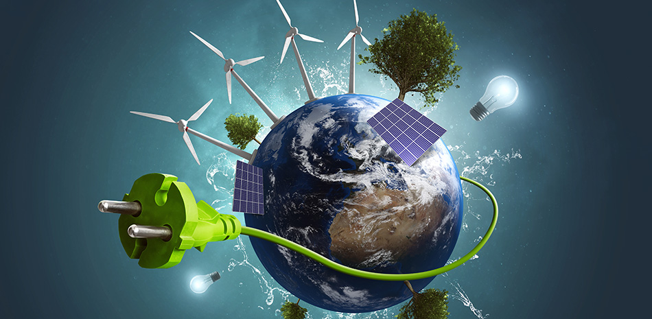 Erde mit Wind- und Solarenergie