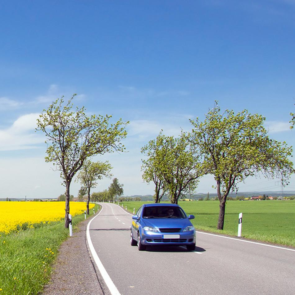 Ökostrom-Auto fährt durch Landschaft