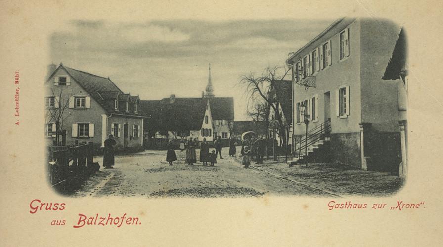 Postkarte Balzhofen mit Gasthaus Krone, um 1900