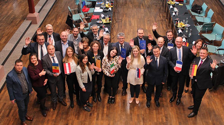 Gruppenfoto Bürgermeistertreffen im Bühler Friedrichsbau