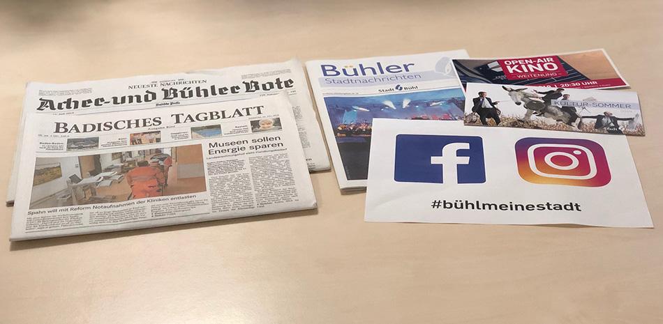 Zeitung, Bühler Stadtnachrichten und diverse Flyer