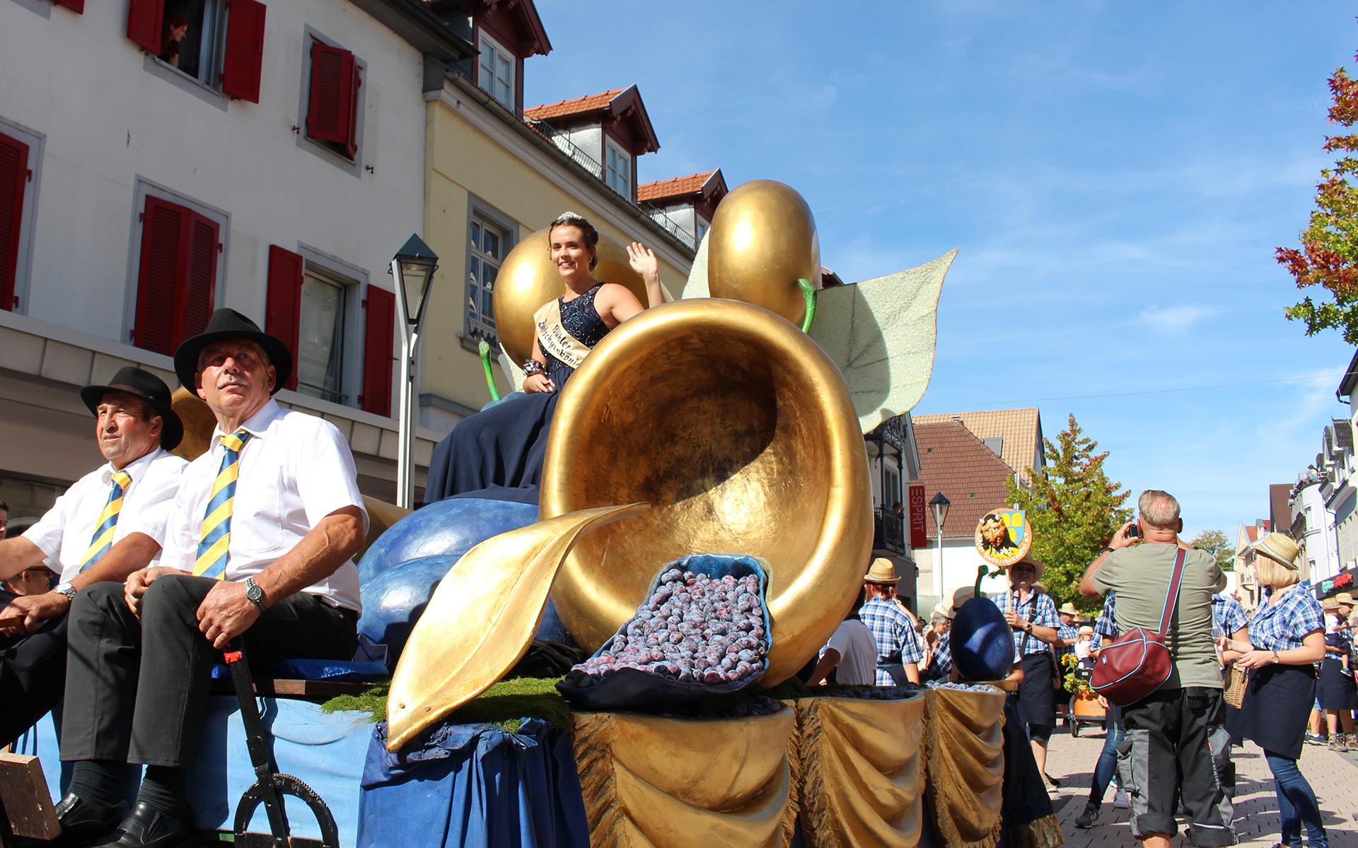 Umzugswagen der Zwetschgenkönigin beim Zwetschgenfest 2018