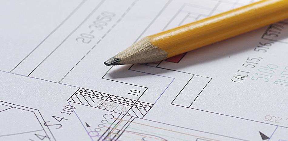Bebauungsplan mit Bleistift