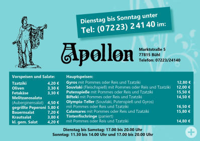 Take-Away-Karte Apollon