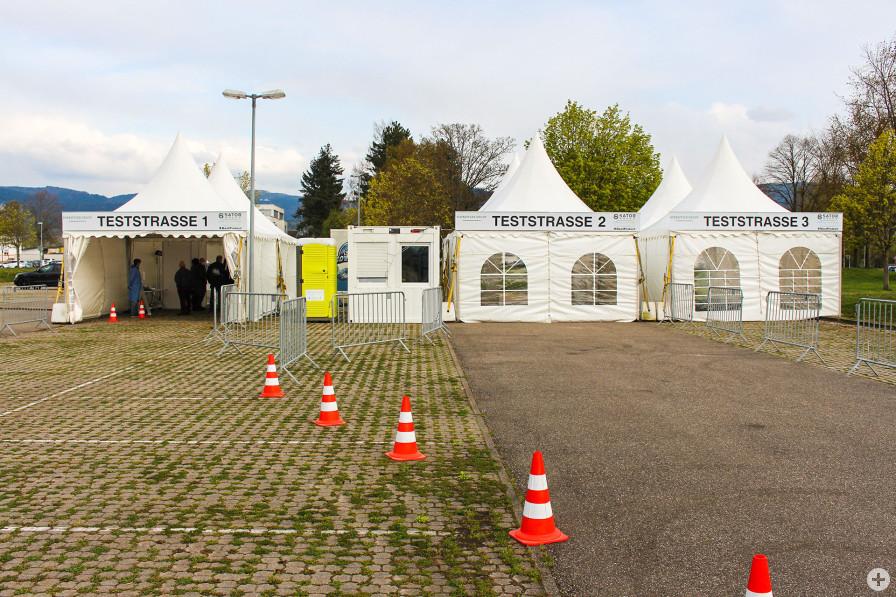Corona-Drive-in-Testzentrum auf Firmengelände von Schaeffler