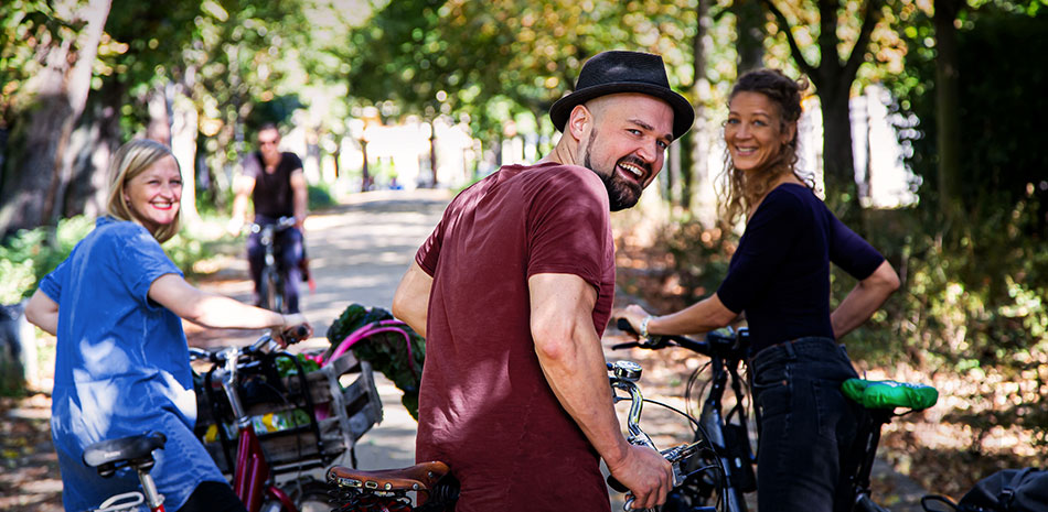 Fahrradfahrer in der Stadt